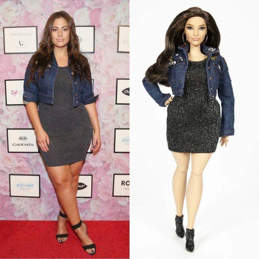 A boneca tem a mesma roupa da modelo