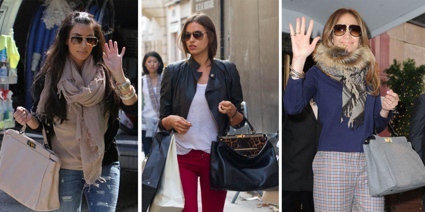 Kim Kardashian, Irina Shayk e Jennifer Lopez são fãs da mala de Karl Lagerfeld para a Fendi.