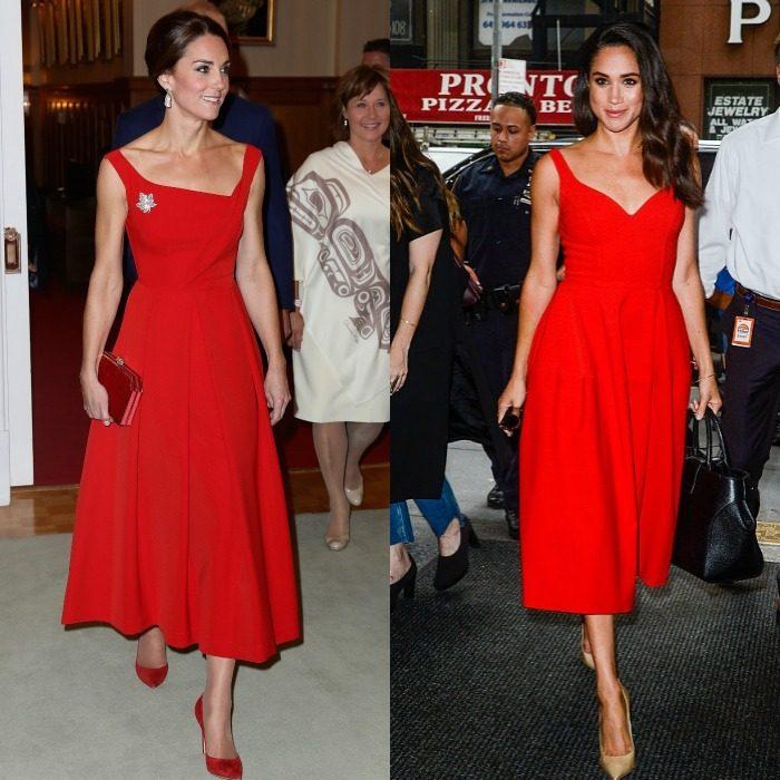 Vermelho é uma das cores de eleição de Kate e Meghan para desfilarem a sua elegância