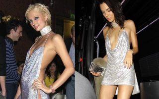 Paris Hilton e Kendall Jenner com o mesmo género de vestido