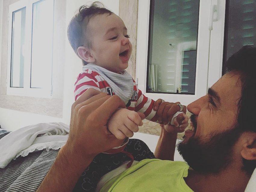 Santiago com o pai, Diogo Clemente
