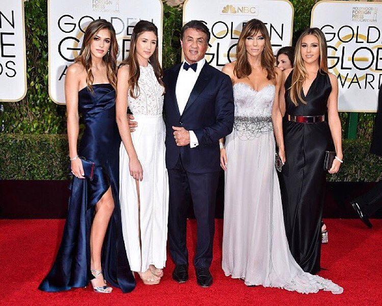Com os pais nos Golden Globes de 2016
