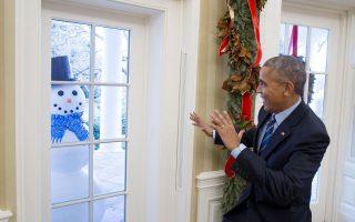 barack-obama-e-boneco-de-neve-casa-branca