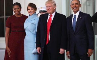 Michelle e Barack Obama e Melania e Donald Trump tomada de posse capa
