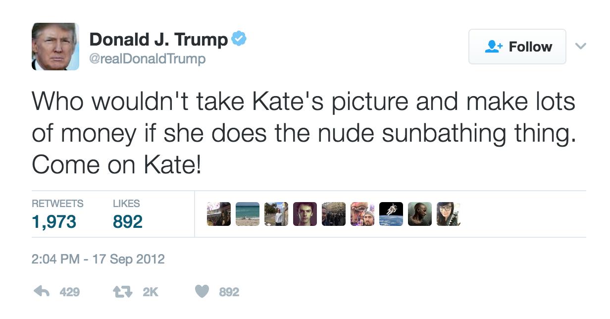Tweet ofensivo de Donald Trump a Kate Middleton 2012