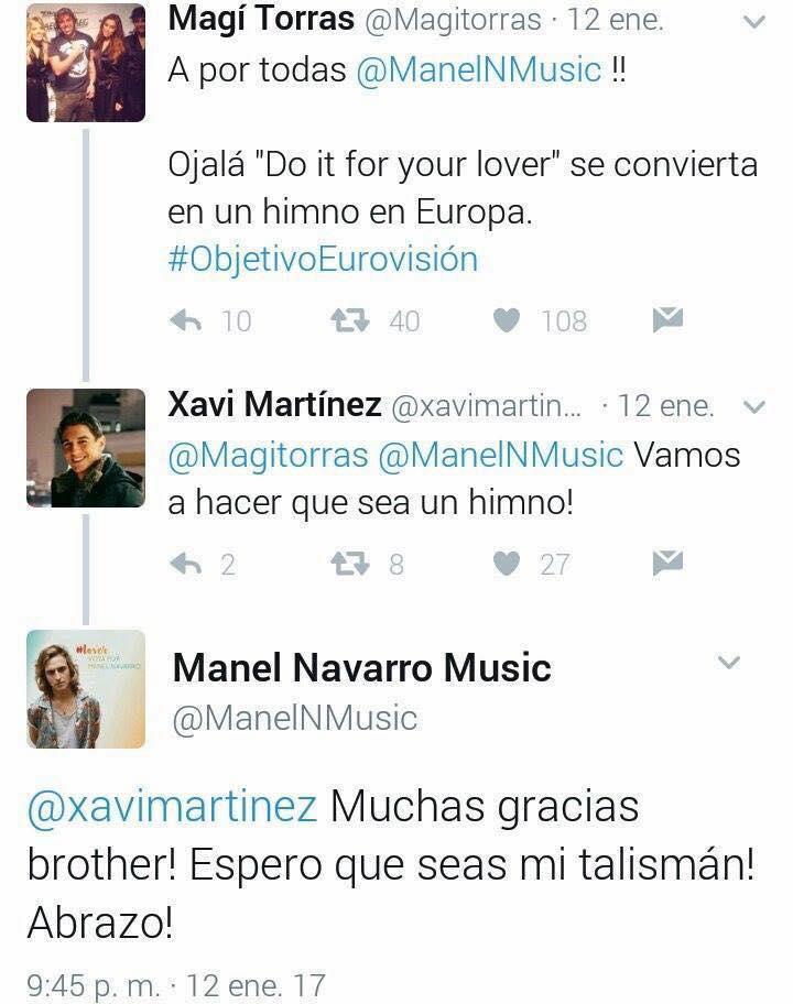 Apoio de júri espanhol Xavi Martínez à canção de Manel Navarro