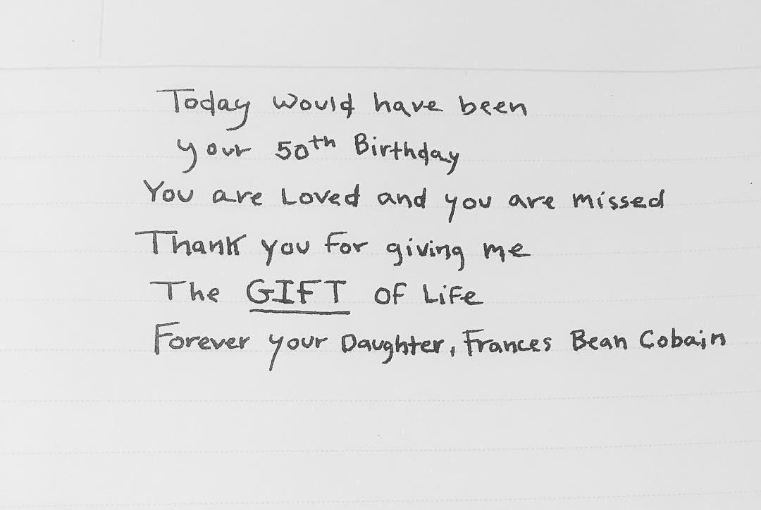 Mensagem de parabéns a Frances Bean Cobain ao pai Kurt Cobain