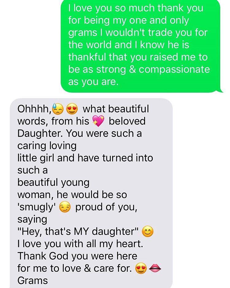 Mensagem entre Frances Bean Cobain e avó