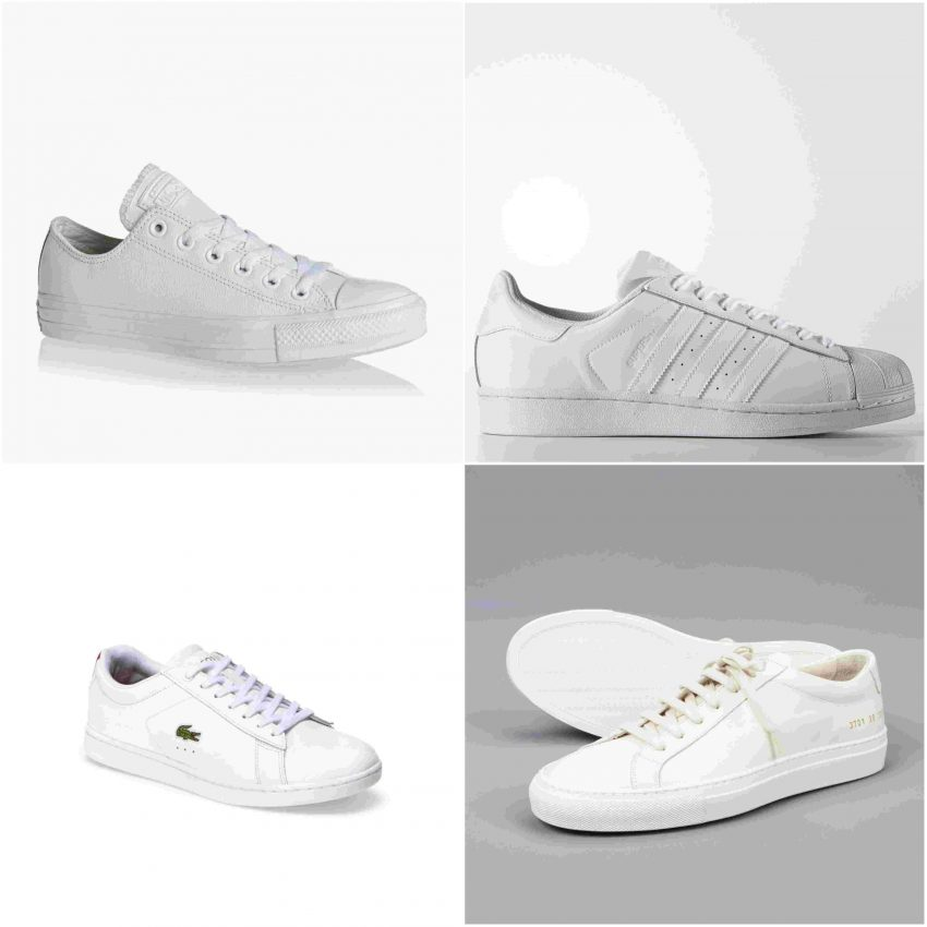Fila de cima (da esq. para a dir.): modelo Chuck Taylor da Converse All Star (40€) e Superstar da Adidas (80€). Fila de baixo (da esq. para a dir.): Lacoste (159€) e Common Projects (329€)