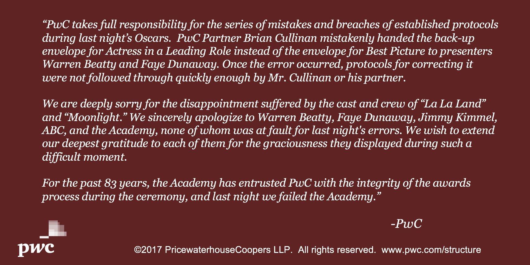 Comunicado de responsabilidade pela bronca dos Óscares empresa PwC