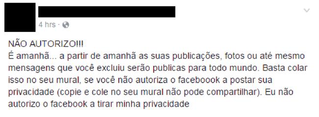 Mensagem Não autorizo no mural facebook contra divulgação de dados