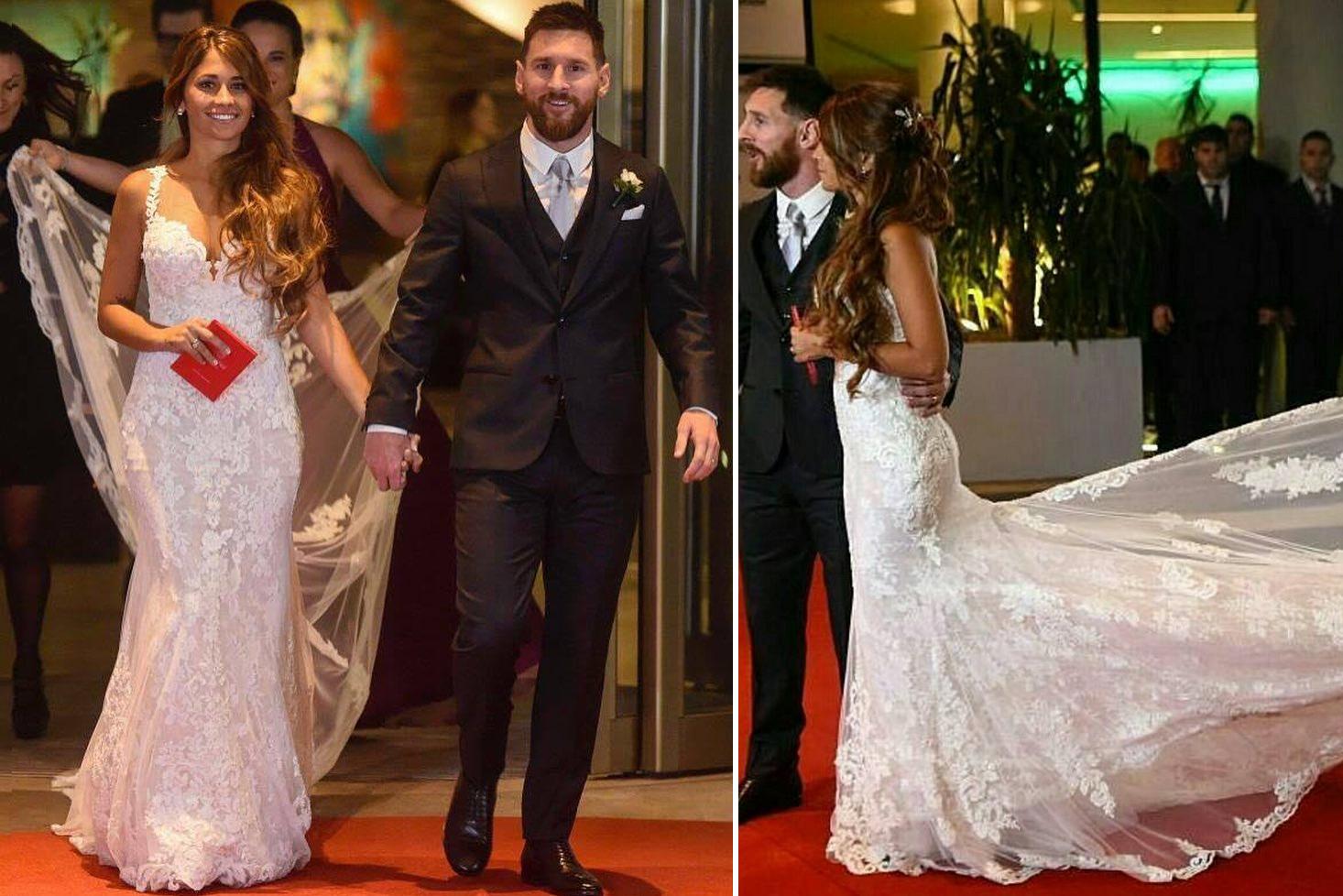 8ca36d1dd Conheça ao pormenor o vestido de noiva da mulher de Messi - MoveNotícias