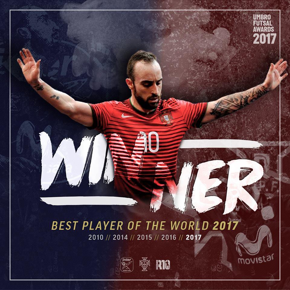 Ricardinho é pela quinta vez o melhor jogador de futsal do mundo