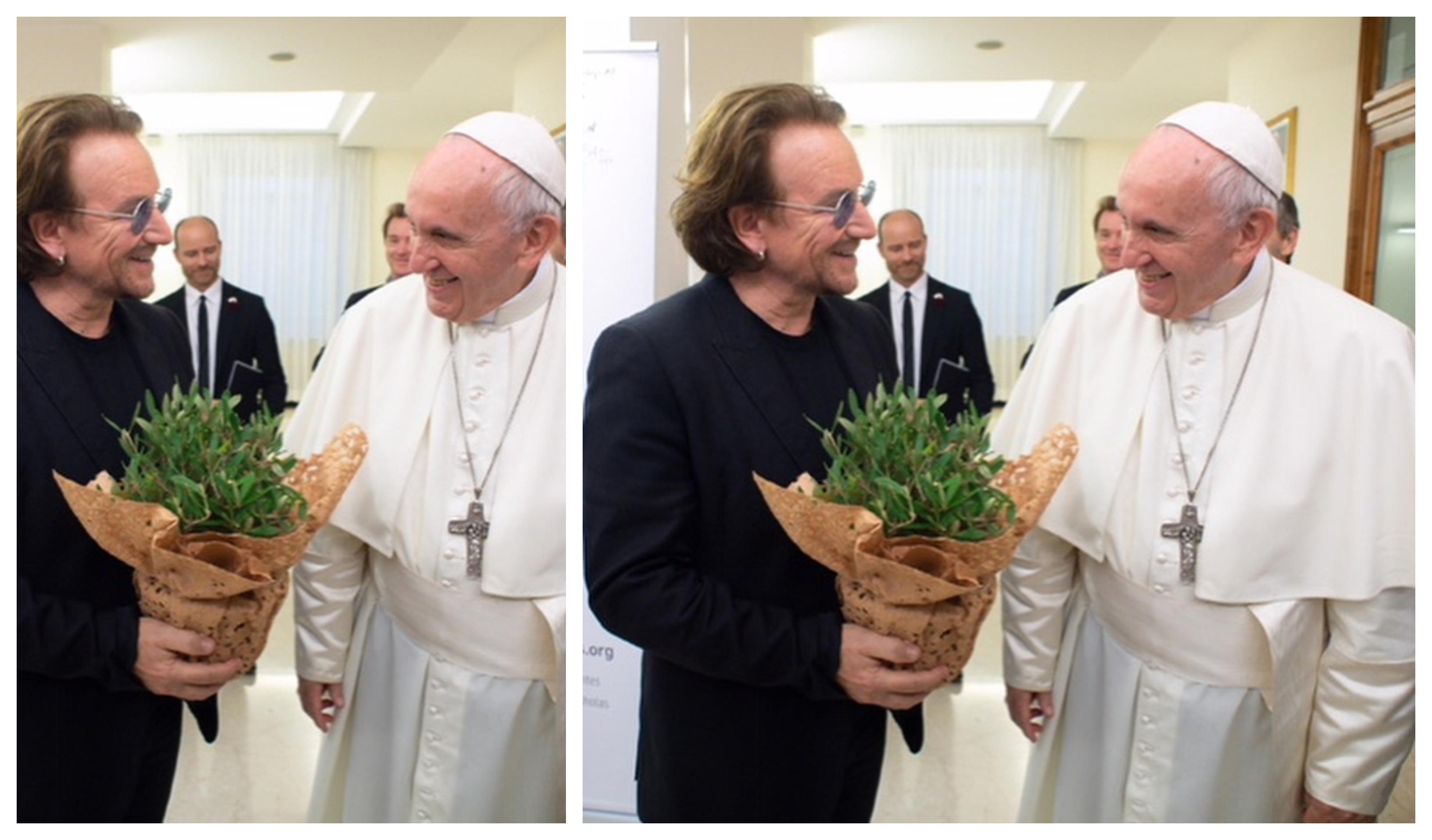 9731763e4 O Papa concedeu ao vocalista do U2, Bono uma audiência privada no Vaticano  esta quarta-feira, alguns meses depois de o cantor ter feito uma campanha  para ...